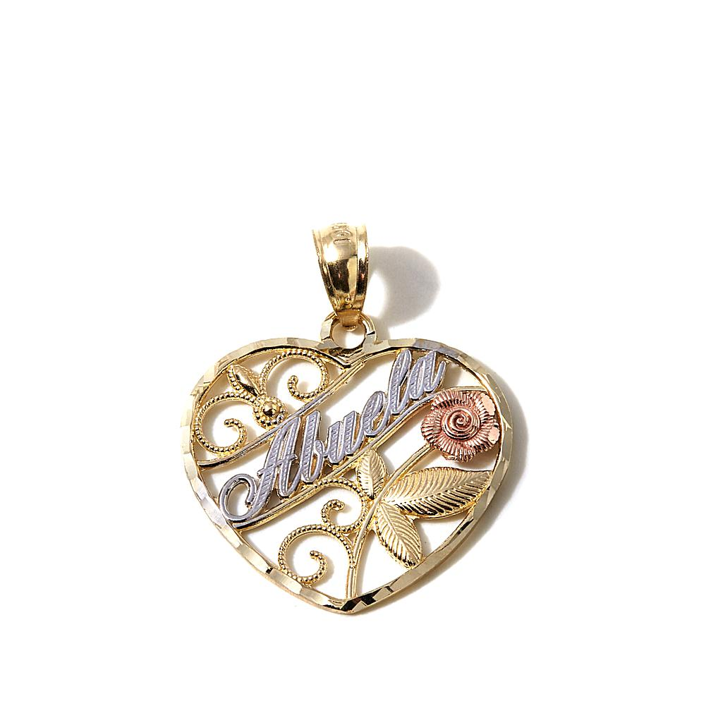"Michael Anthony Jewelry 10K Gold Tri-Tone ""Abuela"" Heart-Shaped Pendant"
