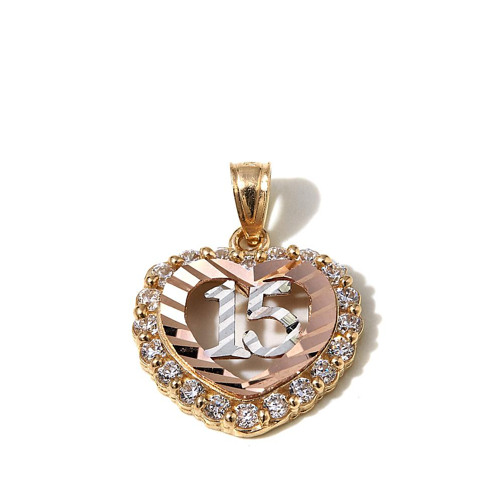 "Michael Anthony Jewelry 10K Gold Tri-Tone White CZ Quinceanera ""Sweet 15"" Open-Heart Pendant"