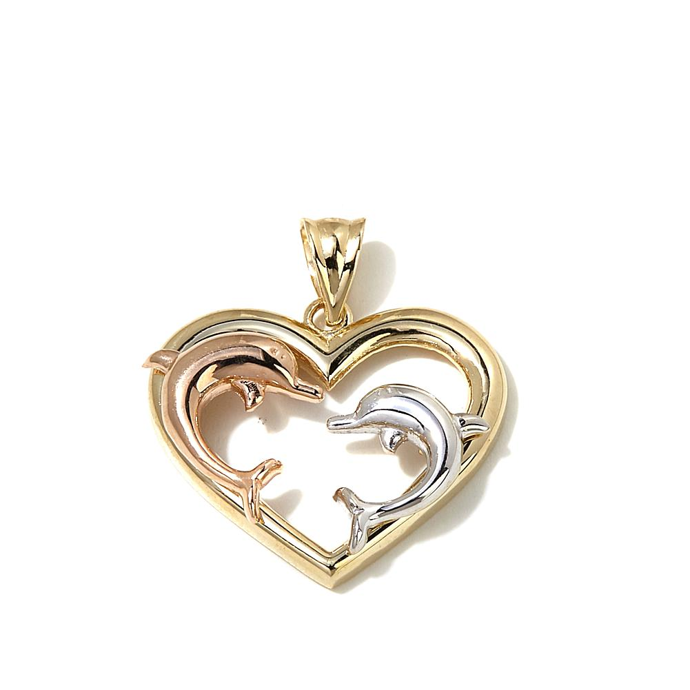 Michael Anthony Jewelry 10K Gold Tri-Tone Dolphin Heart Pendant