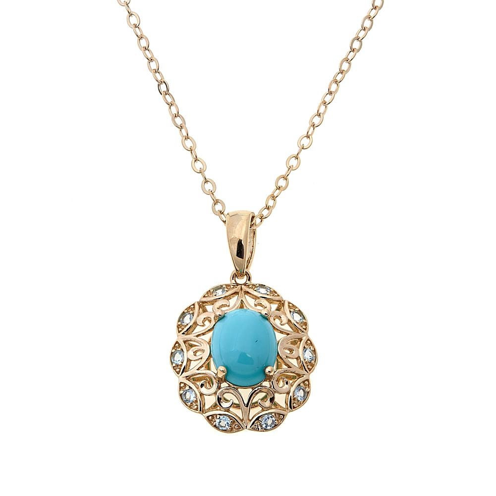 Technibond Turquoise and Blue Topaz Pendant with 18 Chain