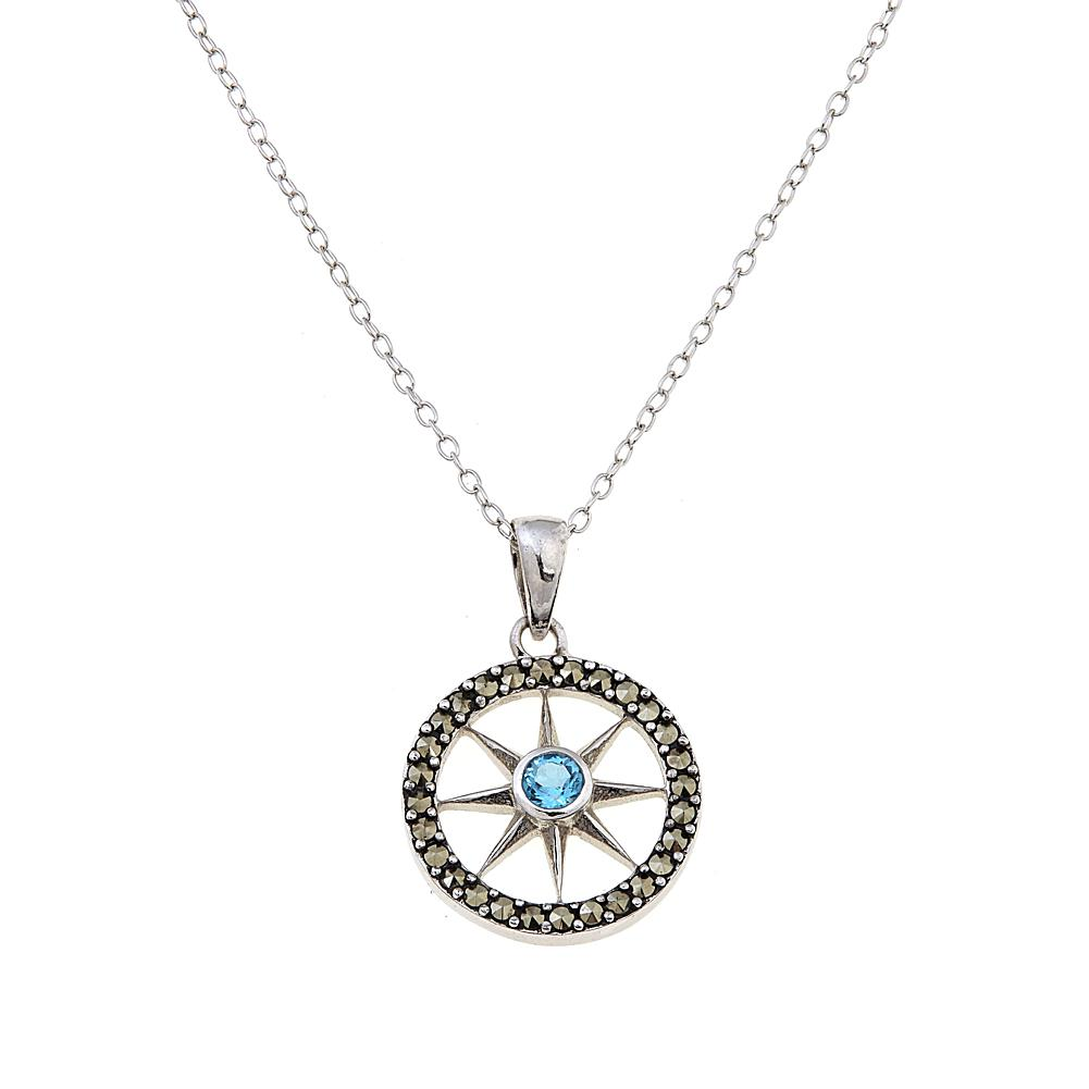 Black Marcasite and Blue Topaz Compass Sterling Silver Pendant with 18 Chain