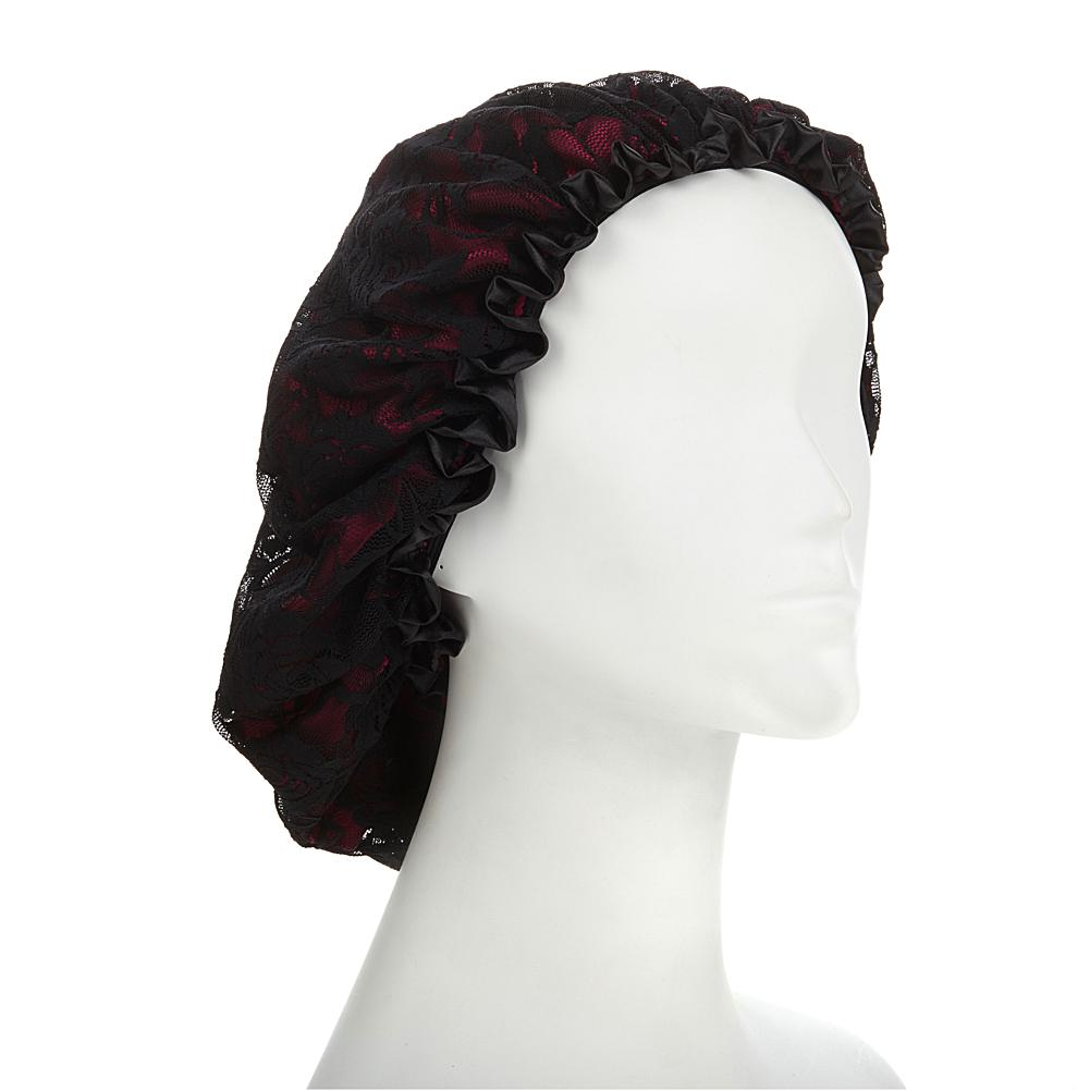 Kim Kimble Silk Slumber Cap - Red with Black Lace