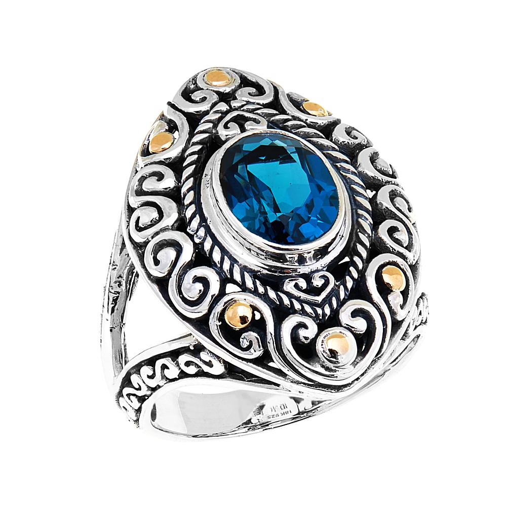 Bali Designs by Robert Manse 2.21ct London Blue Topaz 2-Tone Marquise Ring