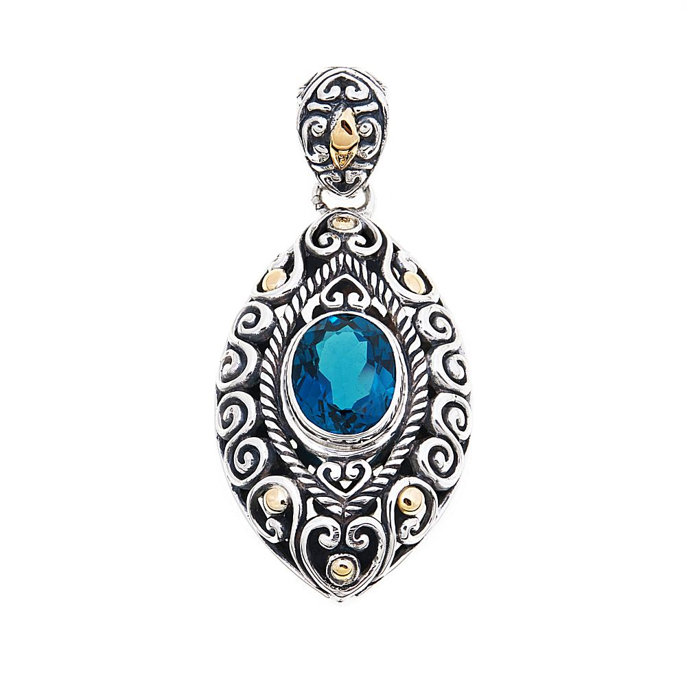 Bali Designs by Robert Manse 3.24ct London Blue Topaz 2-Tone Marquise Pendant
