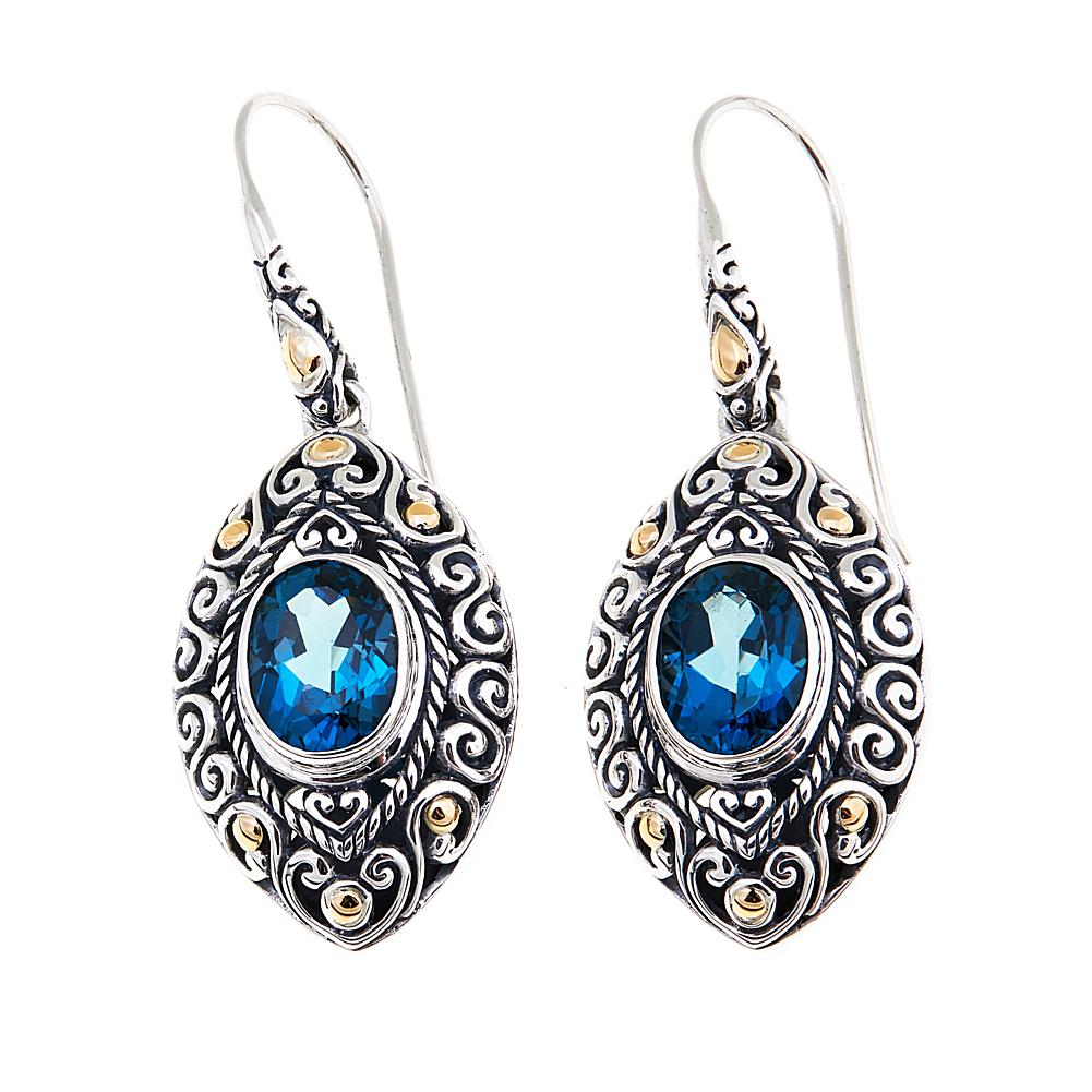 Bali Designs by Robert Manse 4.24ctw London Blue Topaz 2-Tone Marquise Drop Earrings