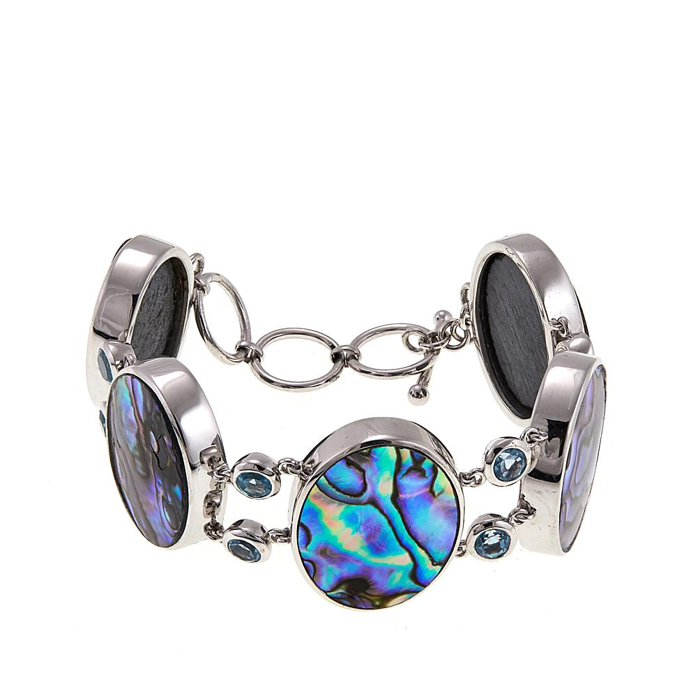 Shop Exclusive Products And Top Brand Names The Wet Brush Gemstone Abalone Colleen Lopez Collection Blue Topaz Sterling Silver Toggle Bracelet