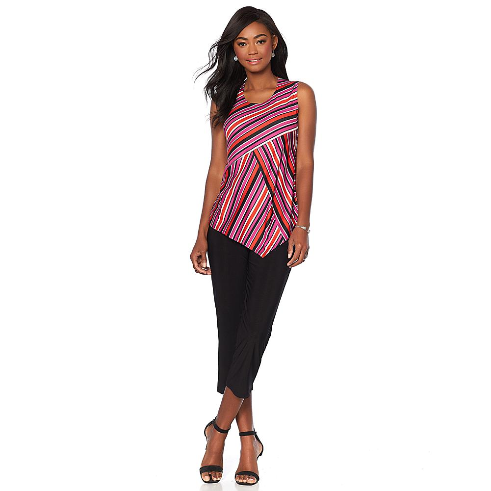 Slinky Brand 2pc Sleeveless Striped Tunic and Cropped Pant