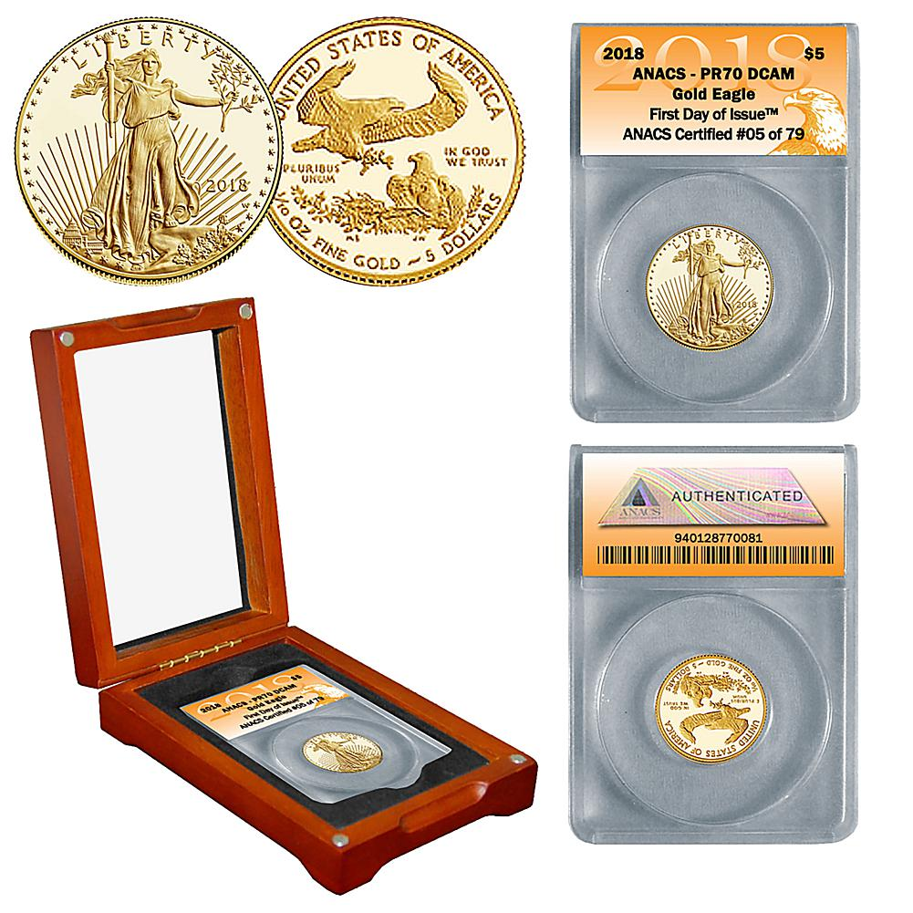Coin Collector 2018 PR70 ANACS First Day of Issue Limited Edition $5 Gold Eagle Coin