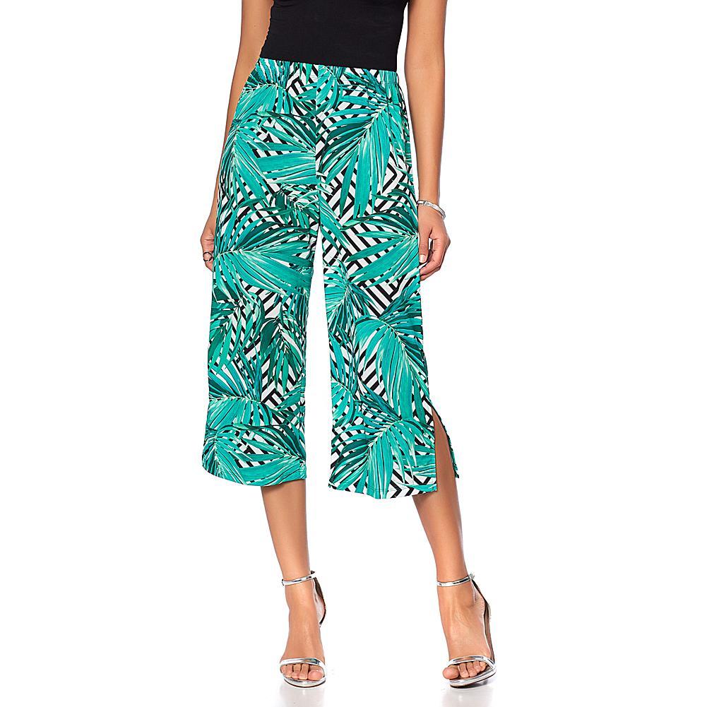 Slinky Brand Printed Knit Basic Cropped Pant