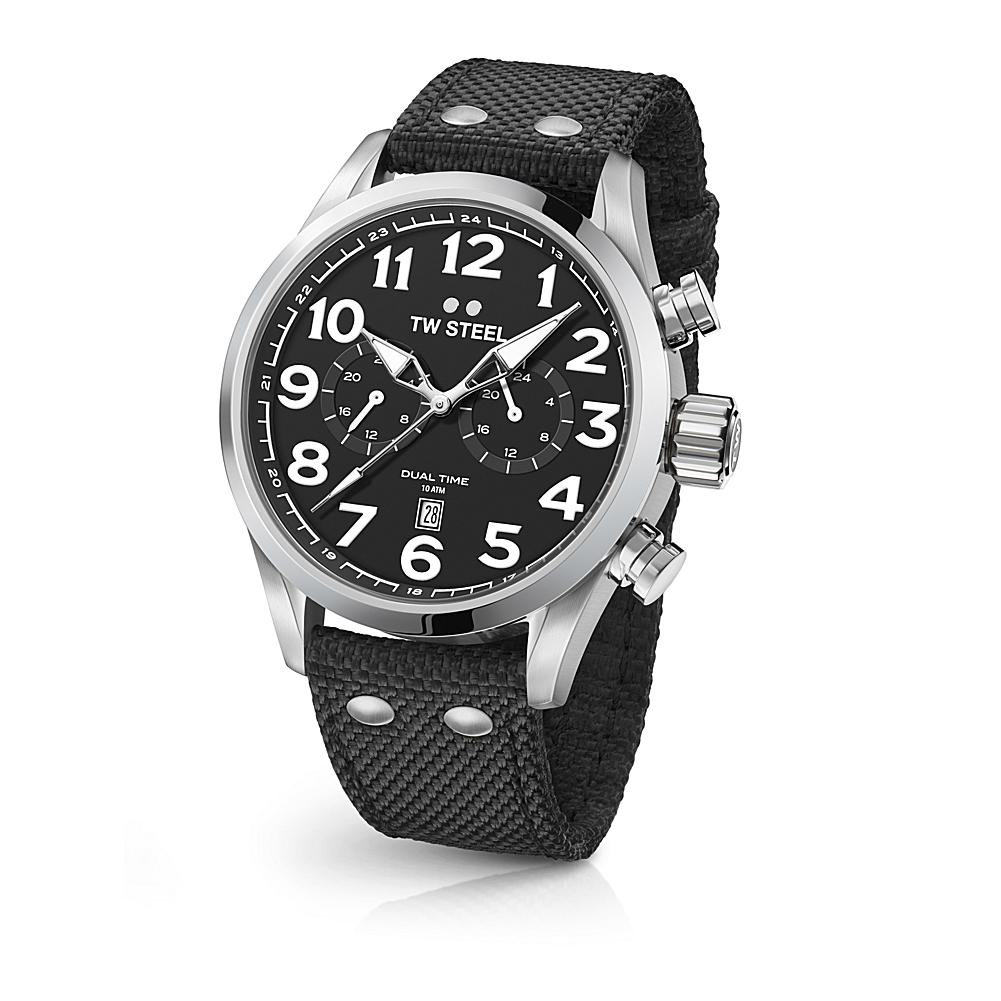 TW Steel Volante Men's 45mm Black Dial Dual-Time Stainless Steel Watch