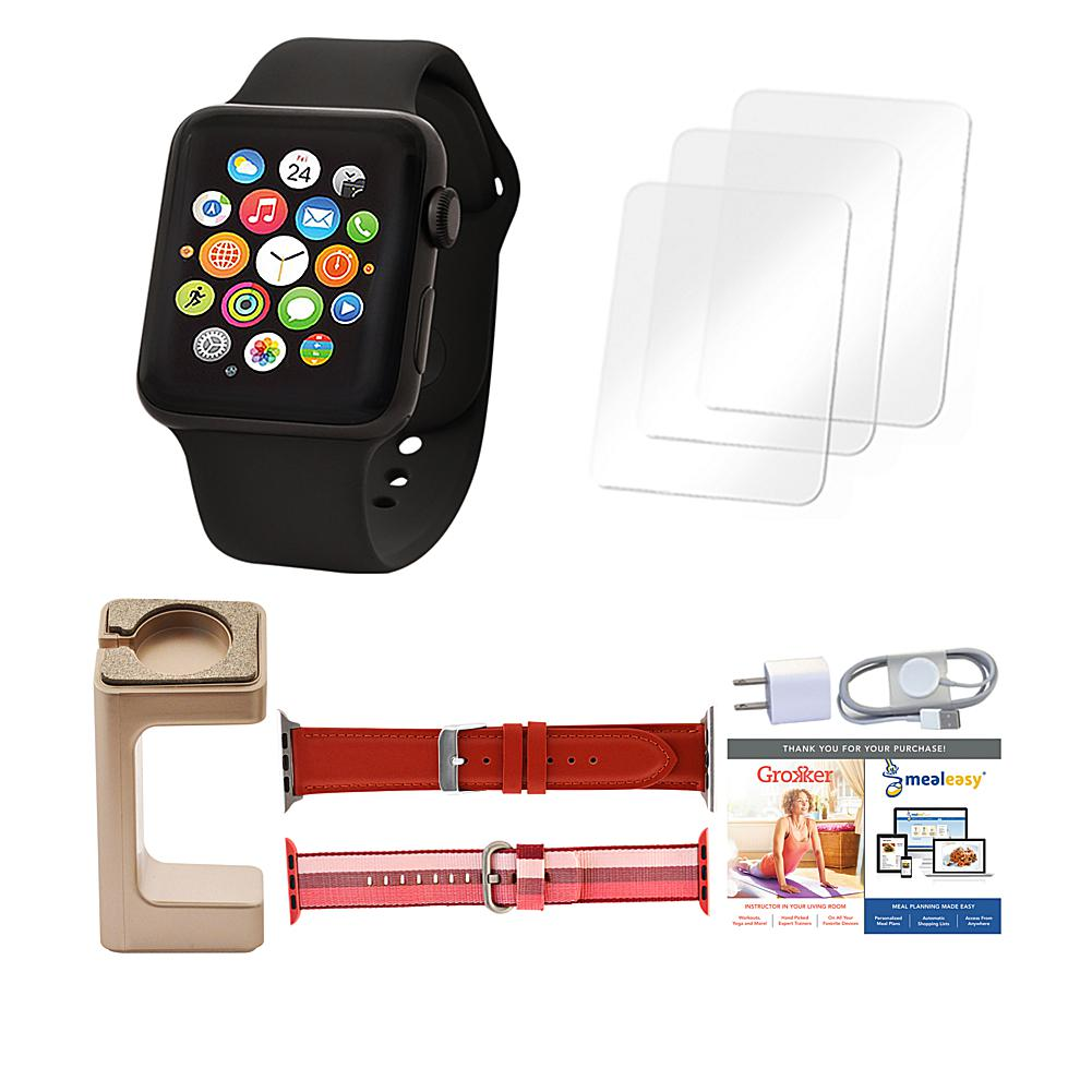Apple Series 3 42mm Sport Watch with Extra Bands and Stand - Black