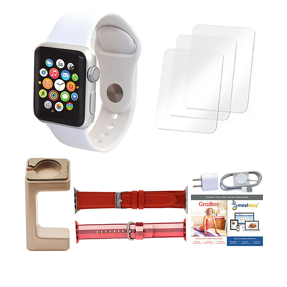 Apple Series 3 42mm Sport Watch with Extra Bands and Stand - White