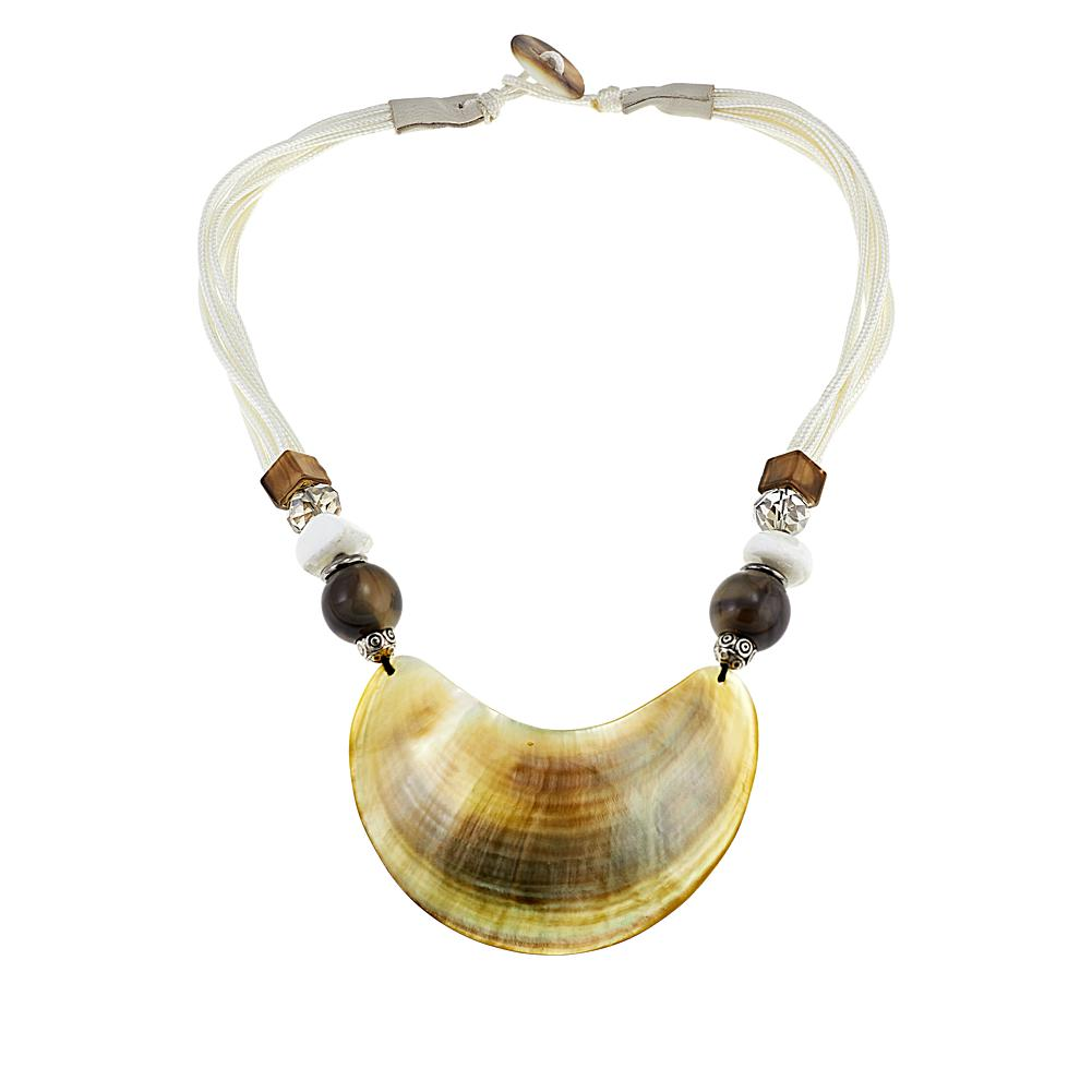 Natural Beauties Half Moon Shell Cord Necklace