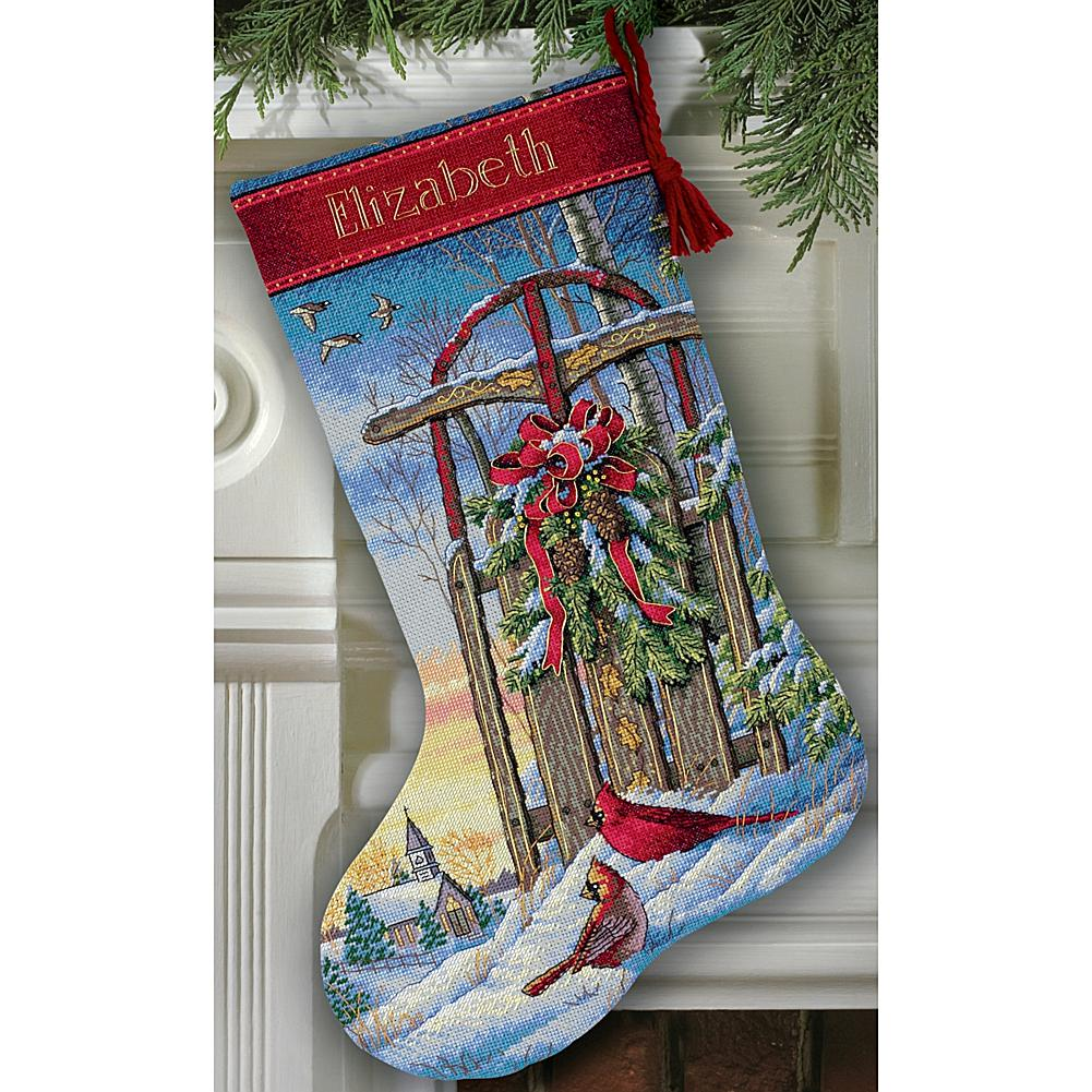 Counted Cross Stitch Kit - Christmas Sled Stocking