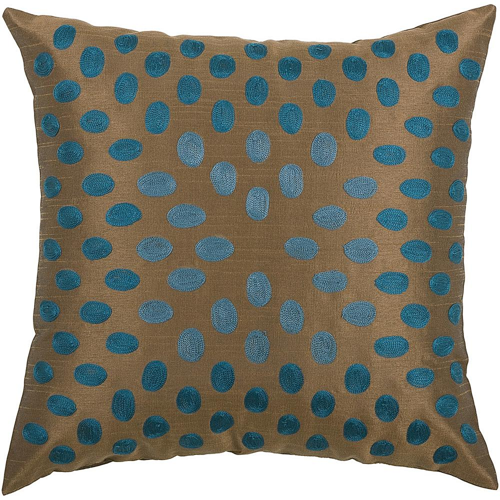"Rizzy Home 18"" x 18"" Thumbprint Pillow - Peacock Blue/Brown"