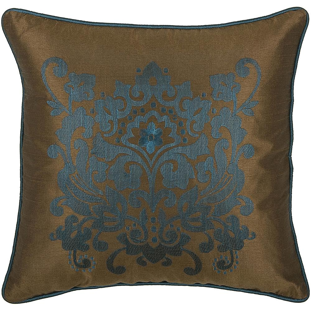 "Rizzy Home 18"" x 18"" Fancy Floral Pillow - Peacock Blue/Brown"