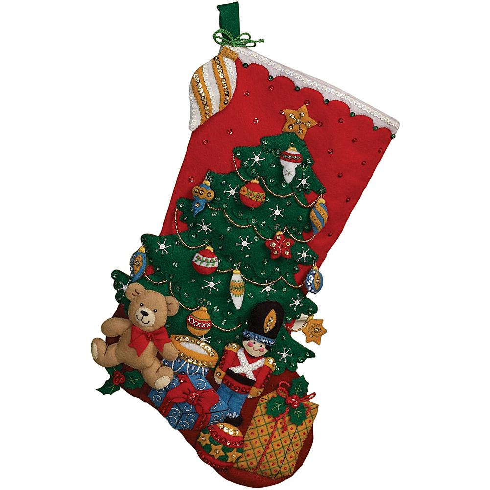 "Under The Tree 18""L Stocking Felt Applique Kit"