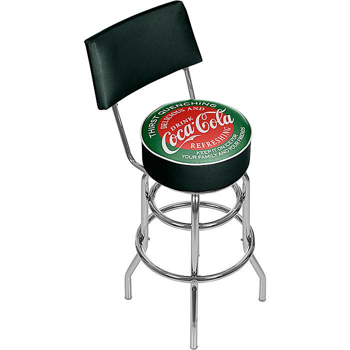 Coca-Cola Red and Green Pub Stool with Back