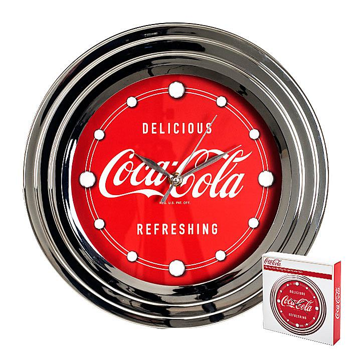 """Coca-Cola 12"""" Clock with Chrome Finish - Delicious and Refreshing"""