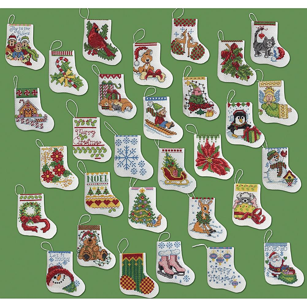 Tiny Stockings Ornaments Counted Cross Stitch Kit - Set Of 30