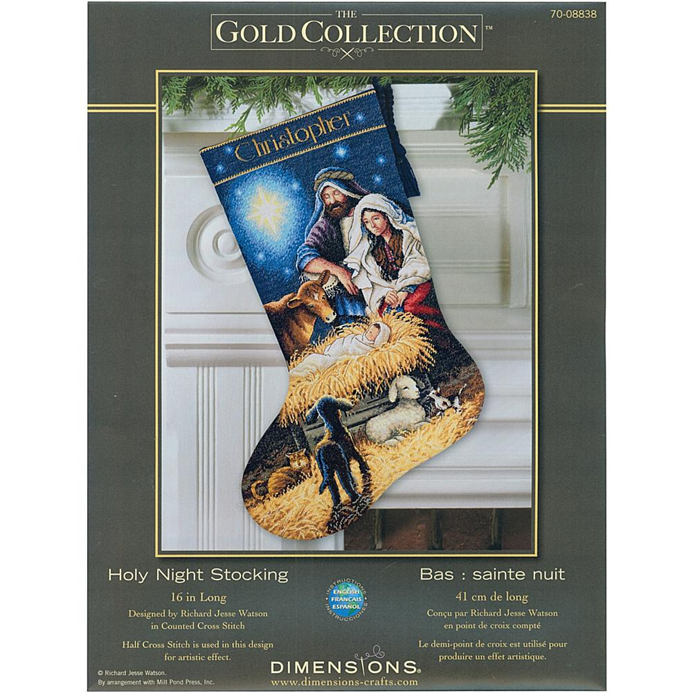 Dimensions Gold Collection Holy Night Stocking Kit - 18-Count