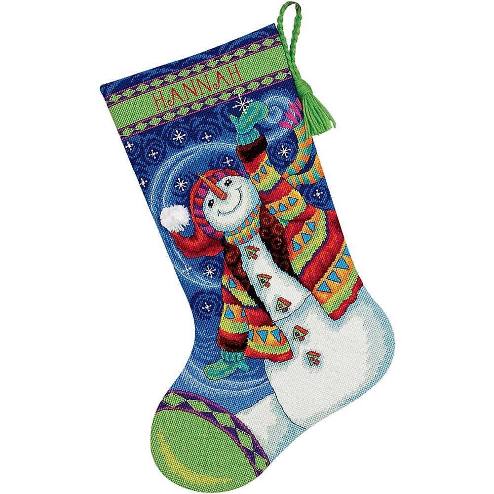 Happy Snowman Needlepoint Stocking Kit in Wool and Thread