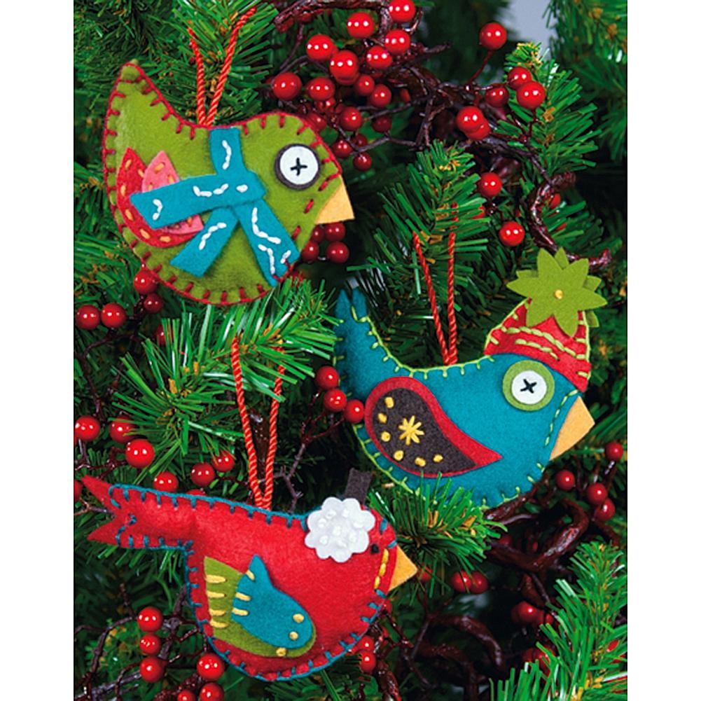 Whimsical Birds Ornaments Felt Appliques - Set of 3