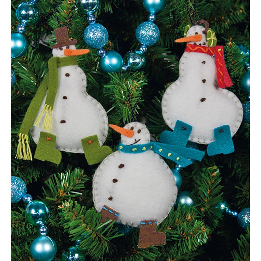 Simple Snowmen Ornaments Felt Appliques - Set of 3