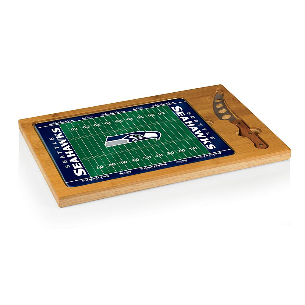 Football Fan Shop Picnic Time Icon Glass Top Cutting Board - Seattle Seahawks