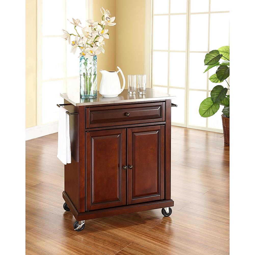 Home Marketplace Crosley Stainless Steel Top Portable Kitchen Cart - Vintage Mahogany Finish plus size,  plus size fashion plus size appare