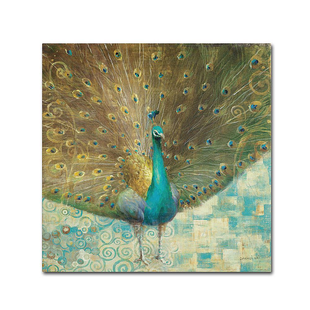 "Trademark Global, Inc. Danhui Nai ""Teal Peacock on Gold"" Canvas Art"