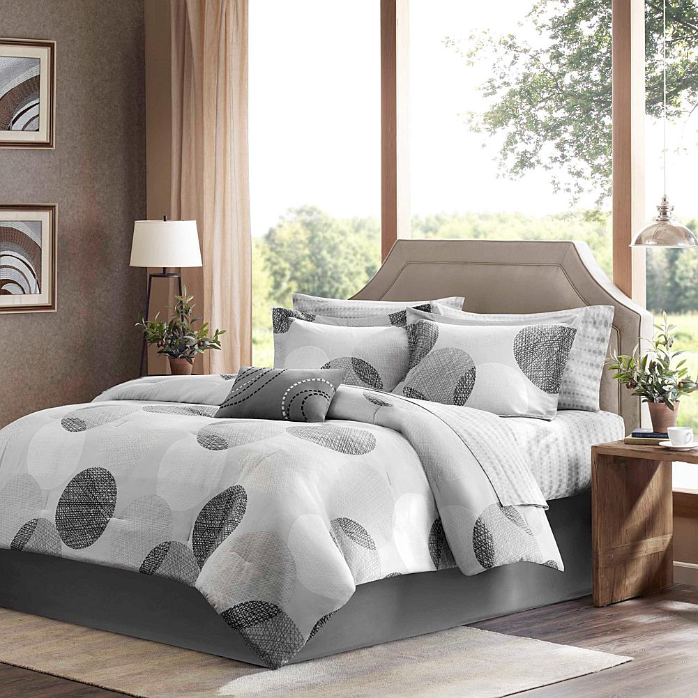 E and E Co., LTD. Madison Park Essentials Knowles 9-Piece Comforter and Sheet Set - Queen/Gray