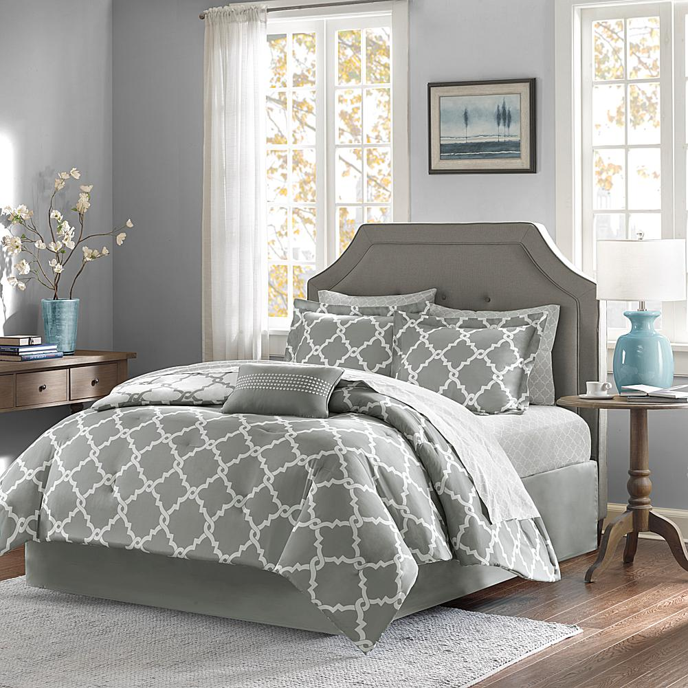 E and E Co., LTD. Madison Park Essentials Merritt 9-Piece Reversible Comforter and Sheet Set - Cal King/Gray