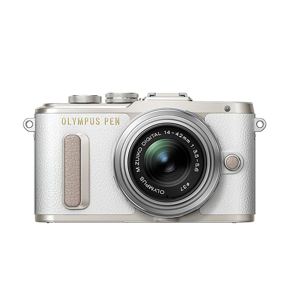 Olympus PEN E-PL8 16MP Changeable Lens Camera with 14-42mm IIR Lens - White Body with Silver Lens