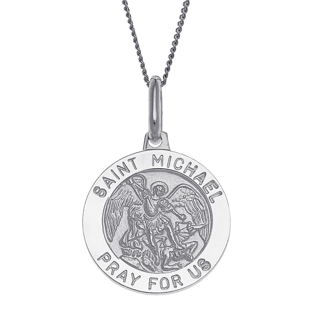 CPS Sterling Silver St. Michael Personalized Round Pendant with Chain