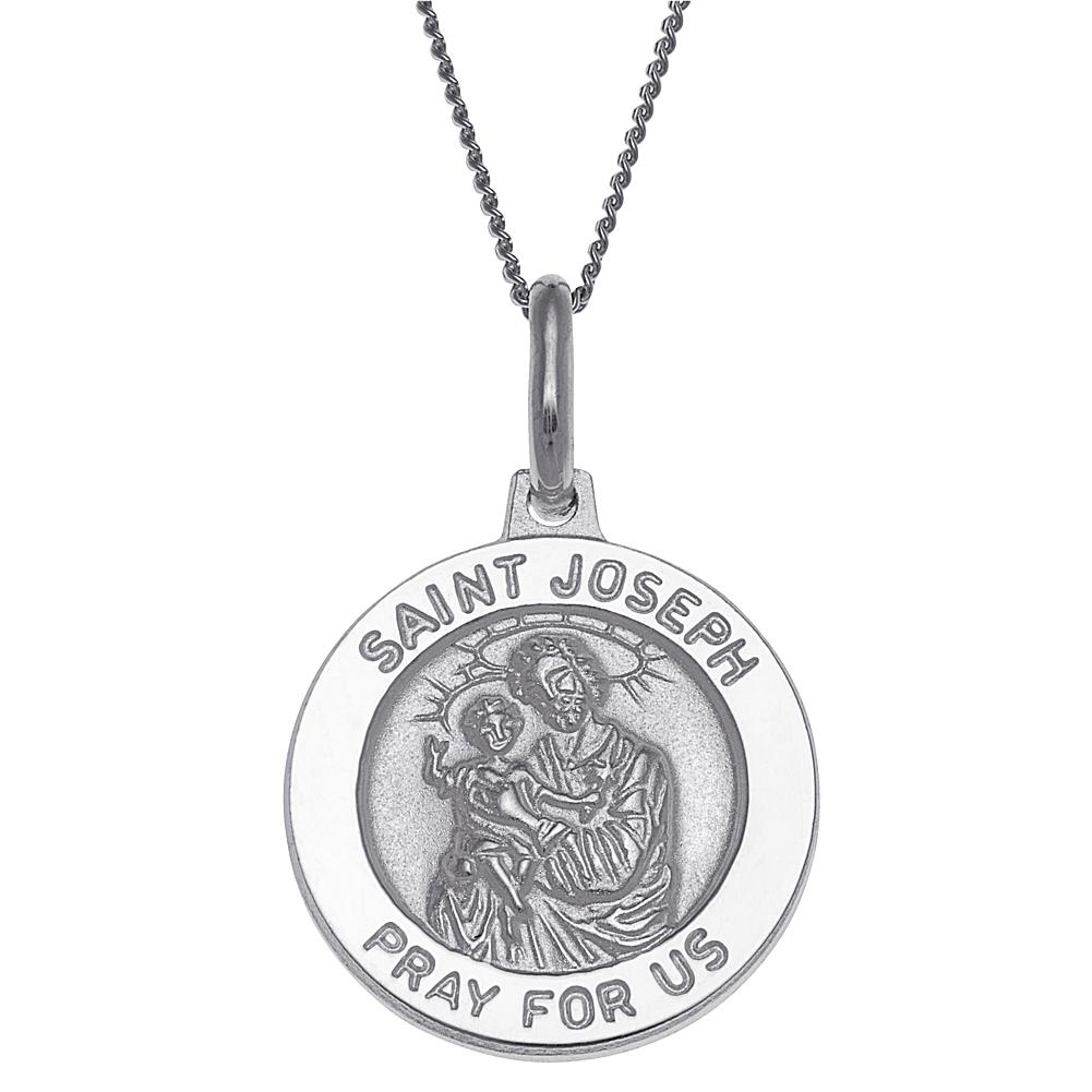 CPS Sterling Silver St. Joseph Personalized Round Pendant with Chain