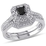 0.65ctw Black and White Diamond 10K White Gold 2pc Set