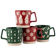 10 Strawberry Street Assorted Red and Green Holiday Mugs 4-Pack