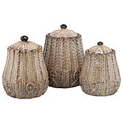 10 Strawberry Street Braided 3-piece Canister Set - Rust