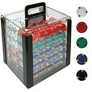 1000 13 Gram Pro Clay Casino Poker Chips w-Carrier