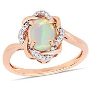 10K Rose Gold Diamond Accent and Ethiopian Opal Interlaced Halo Ring