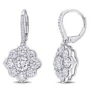 10K White Gold 5.09ctw Moissanite Floral Leverback Earrings