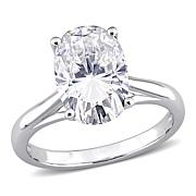 10K White Gold 5ctw Moissanite Oval Solitaire Engagement Ring