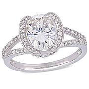 14K White Gold 2ct Moissanite and 0.25ctw Diamond Heart-Design Ring
