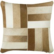 "18"" x 18"" Parquet Pillow - Brown/Off-White"