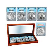 1986-1989 MS70 ANACS Silver Eagle 4-Coin Set