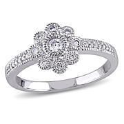 .25ctw Diamond 14K White Gold Frame Cluster Ring