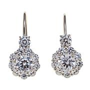 Absolute™ 2.02ctw CZ Round Halo Drop Earrings