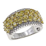 Absolute™ 3.21ctw CZ Sterling Silver Pavé Block Ring