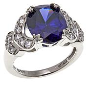 Absolute™ Simulated Tanzanite and CZ Sterling Silver Oval Ring